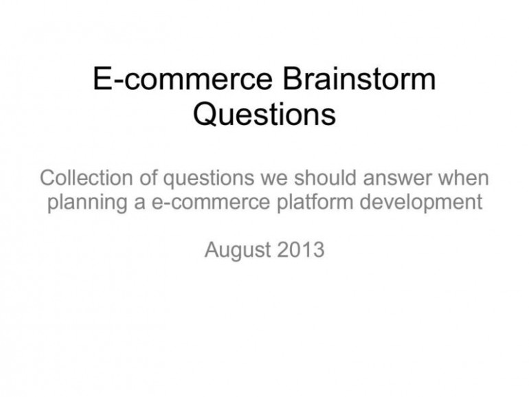 e-commerce brainstorming questions