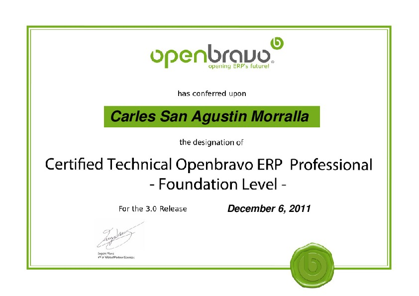 Certified Technical Openbravo ERP 3 Professional