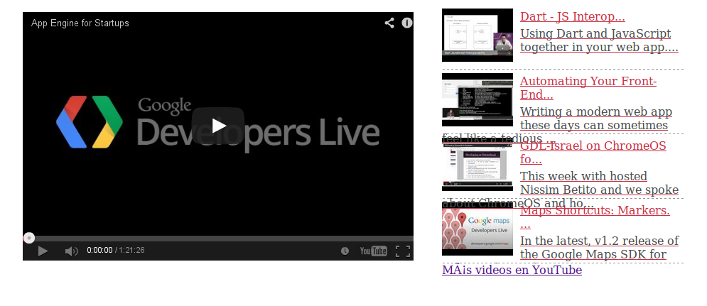 embed youtube videos using its api